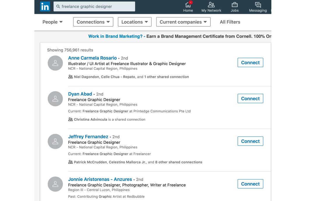 LinkedIn results for graphic design freelancer