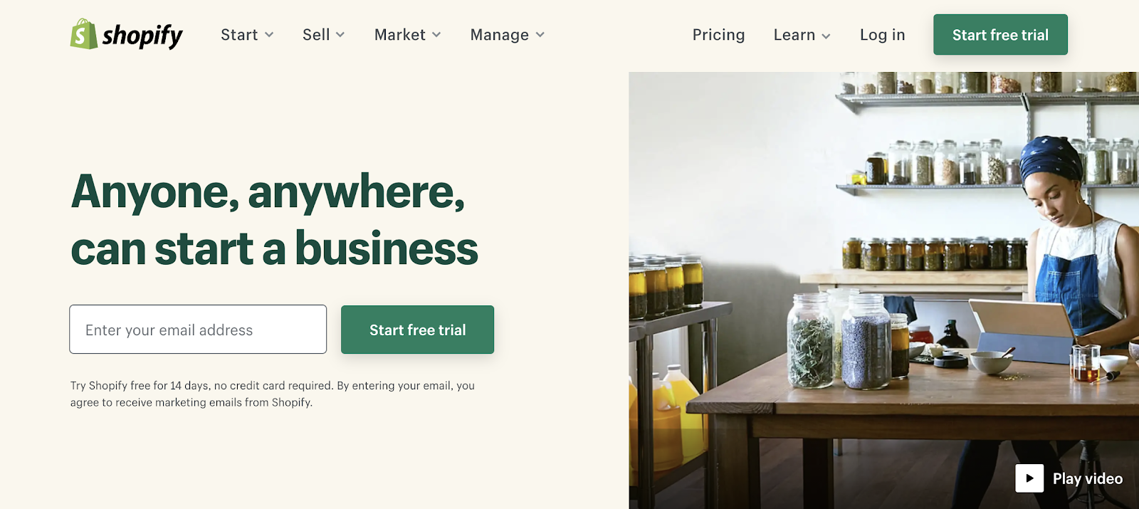 Shopify store homepage