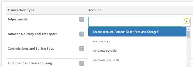 Drop-down accounts