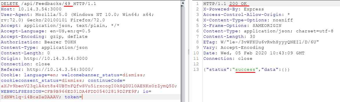 Malicious IDOR exploit using a DELETE request