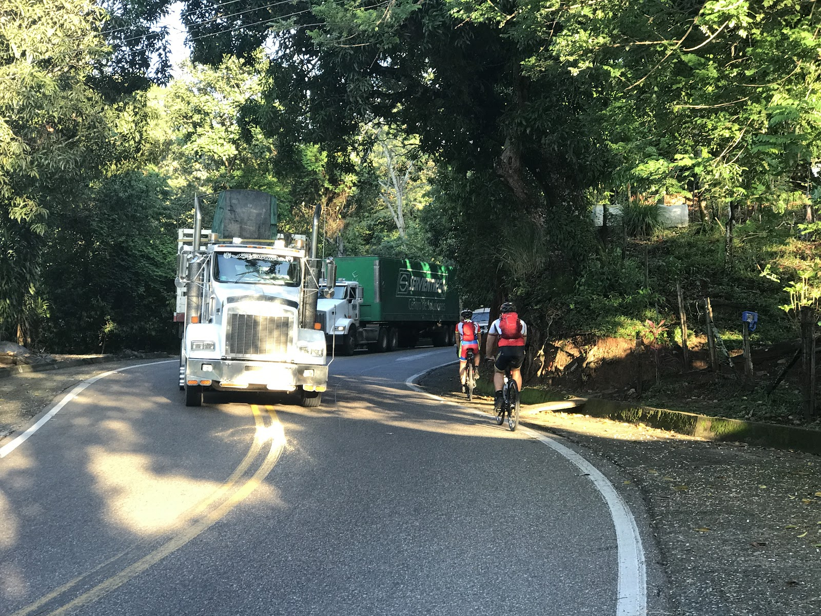 Climbing Alto de Letras by bike - roadway and big trucks.