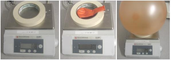 Three photos show the demonstration steps of weighing a balloon before and after it is inflated.