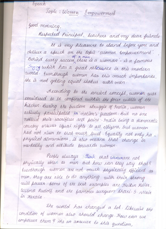 ENGLISH CLASS BY CKR A SCRIPT OF A SPEECH ON WOMEN EMPOWERMENT PREPARED BY SNEHA RAVEENDRAN