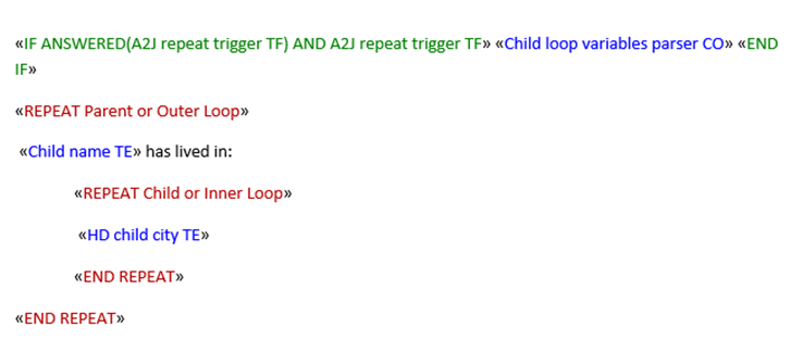 Sample Exercise for Nested Repeat Loops | A2J Author