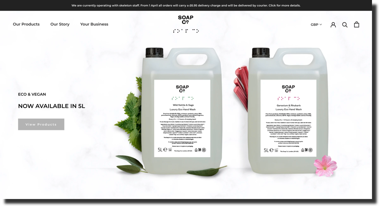 Soap Co. is an East London based skincare company website screenshot Ecommerce Website Designs