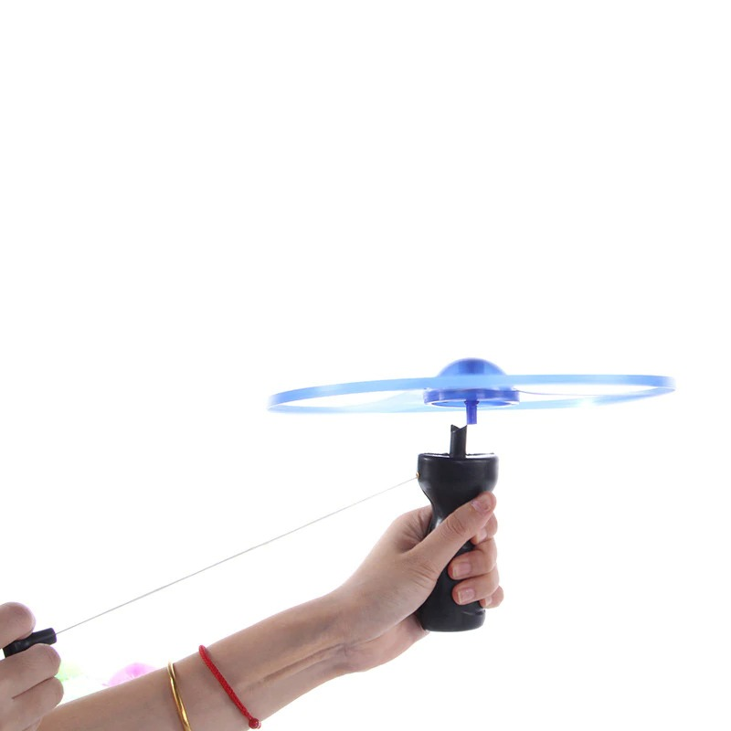 Led Light Up Pull String UFO Frisbee Flying Saucer Disc Kids Toy 3pc