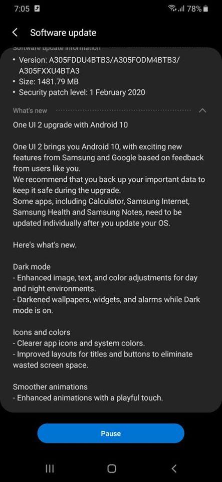 تحديث Samsung Galaxy A30 android 10