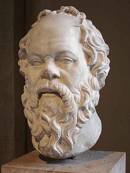 Marble bust of Socrates with long beard.