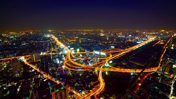 Bangkok at night with major road system lit up