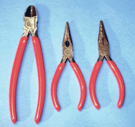 Side cutters and needle-nose pliers are examples of tools used to cut bands and hold metal for bending or cutting