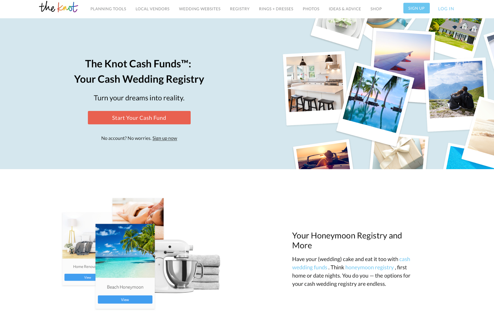 the knot cash fund wedding and honeymoon registry