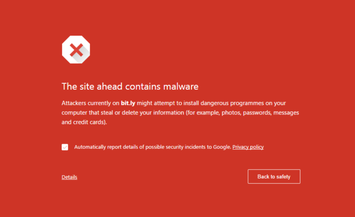 Bit.ly Malware-Warning