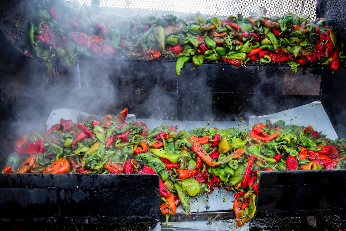 Roasting red and green chiles