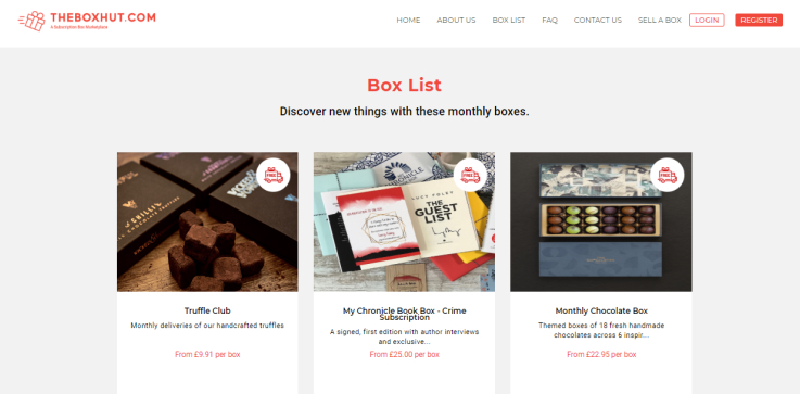 The Box Hut marketplaces uses a simple dropdown list instead of a complex category menu