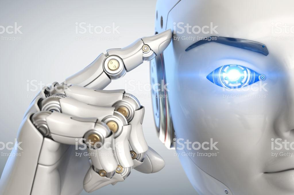 Thinking cyborg. Close up - Royalty-free Artificial Intelligence Stock Photo