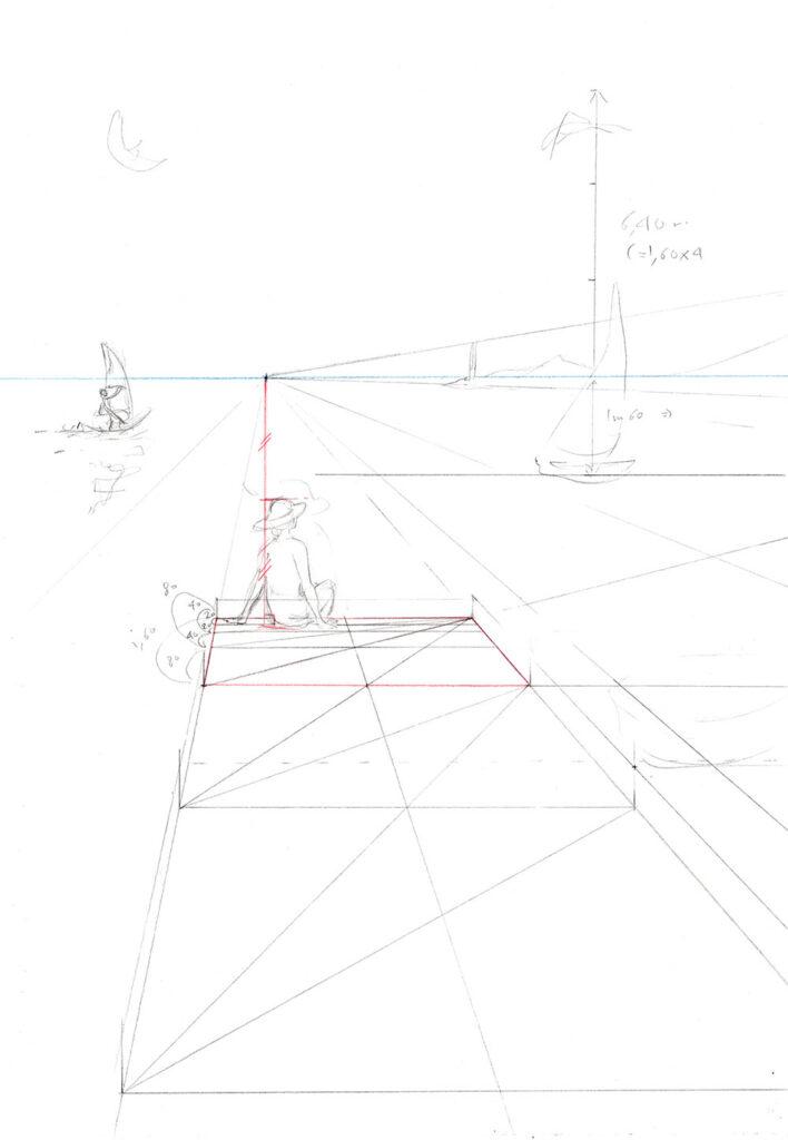 exemple d'illustration à un point de fuite pas à pas