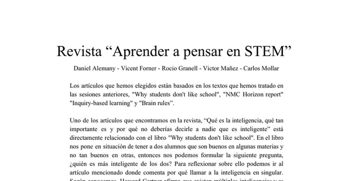 Aprender a pensar en STEM - Cover