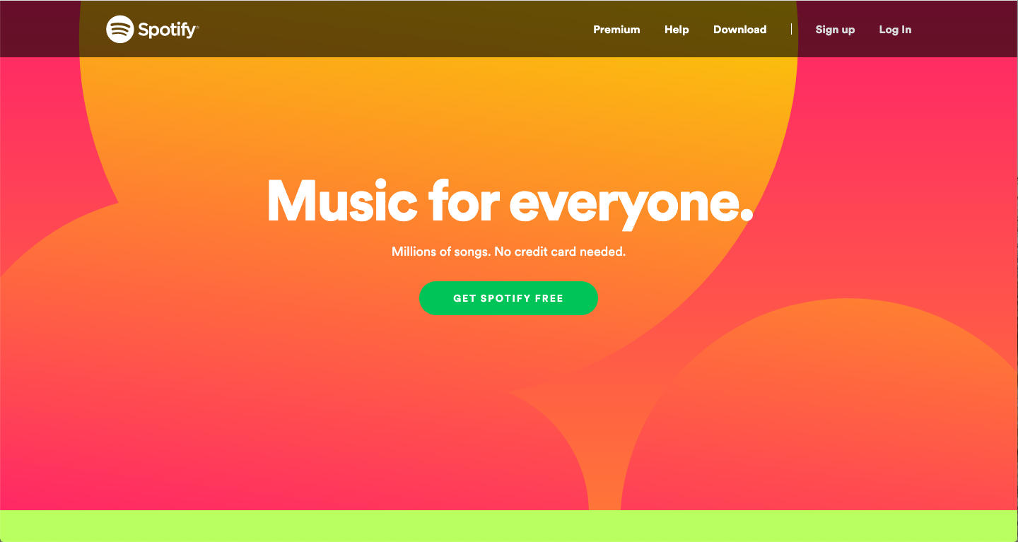 spotify website color schemes examples