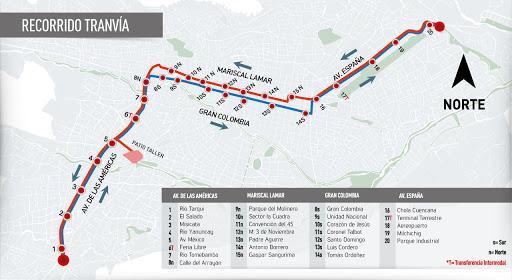 Mapa de Rutas y Paradas | Tranvía