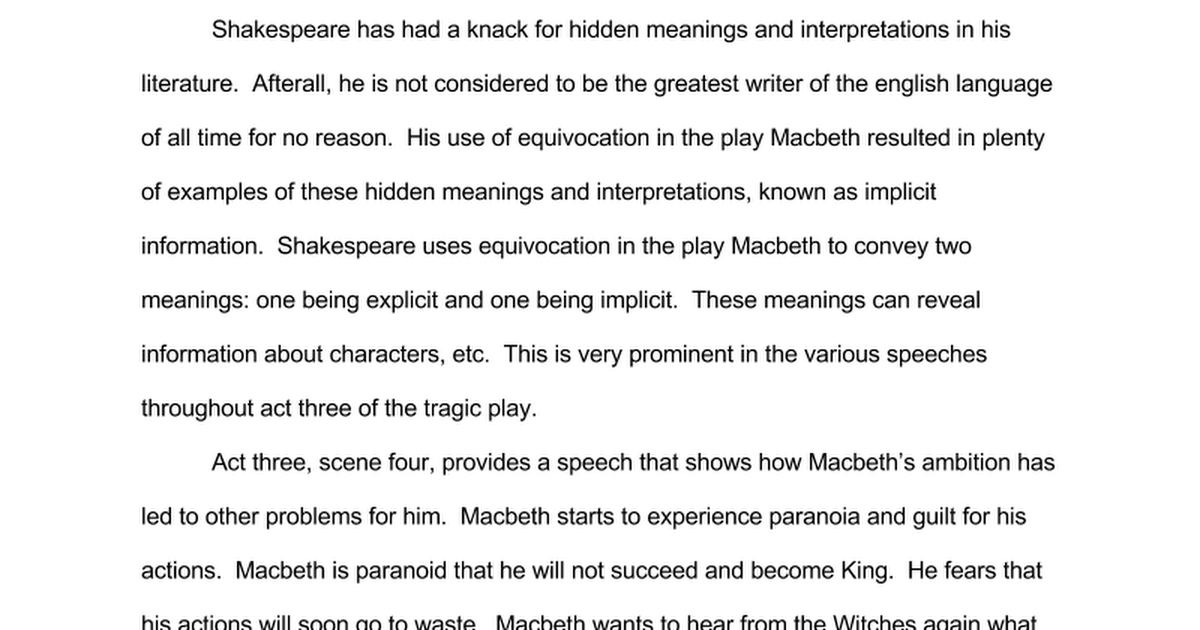 Macbeth Essay Google Docs