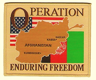 """OPERATION ENDURING FREEDOM AFGHANISTAN OEF FLAG 4"""" EMBROIDERED PATCH 