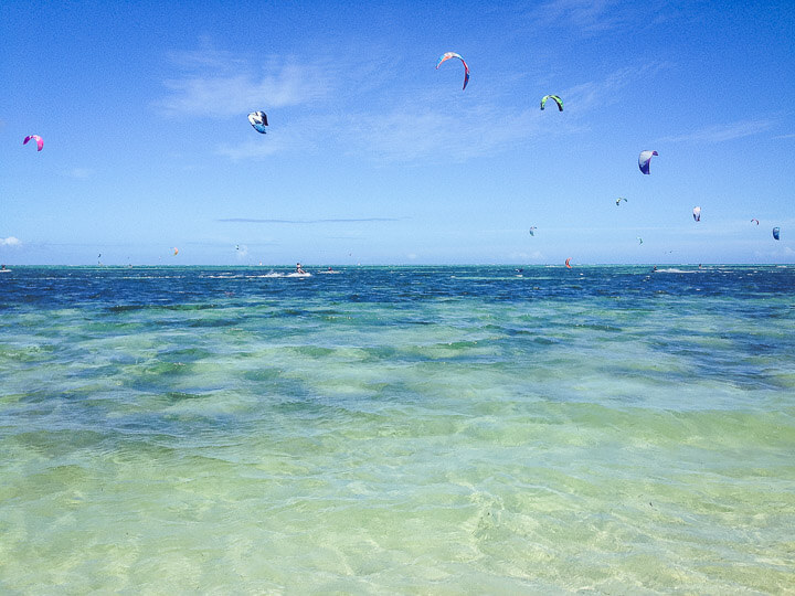 Kite surfers off the coast of Noumea and Ilot Maitre in New Caledonia.