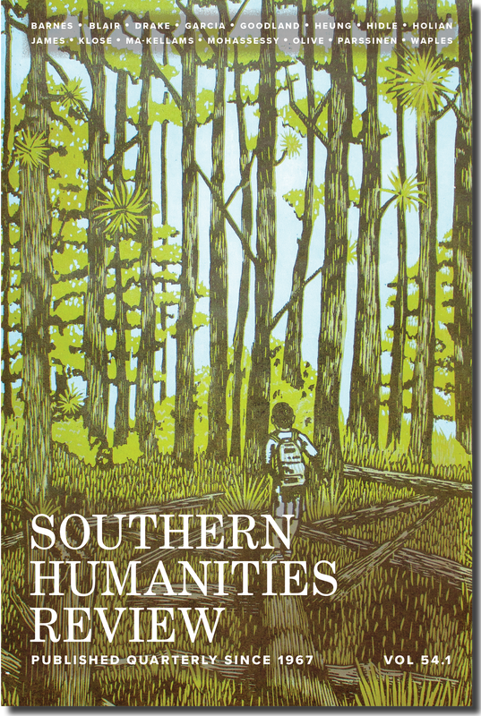 Magazine cover, drawing of forest with hiker carrying backpack