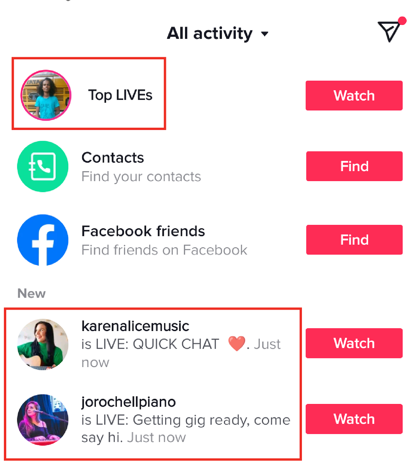When you go live, your followers get an in-app notification.