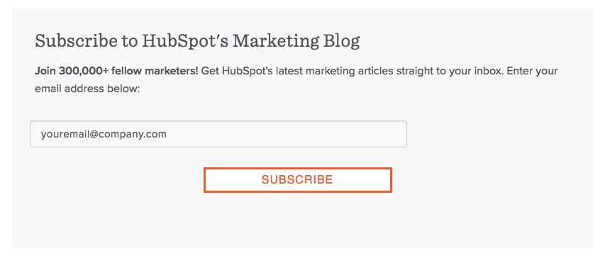 Hubspot Email Newsletter Offer
