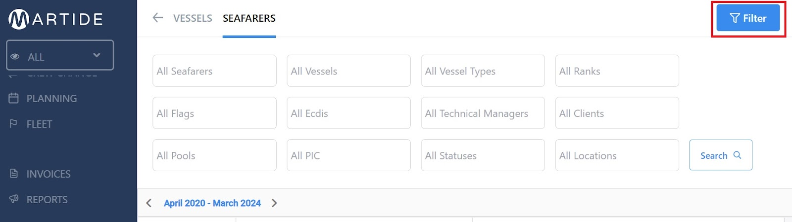 screenshot of the seafarers page showing the filter button