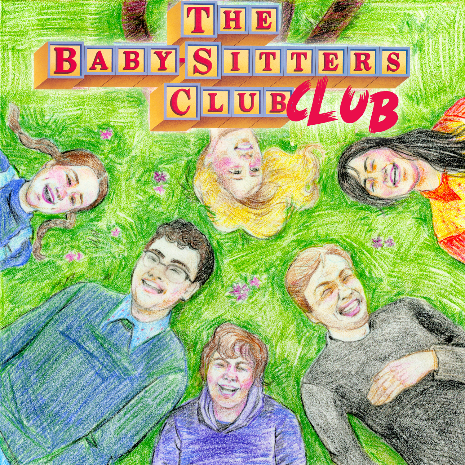 The Baby-Sitters Club Club logo of children lying in grass