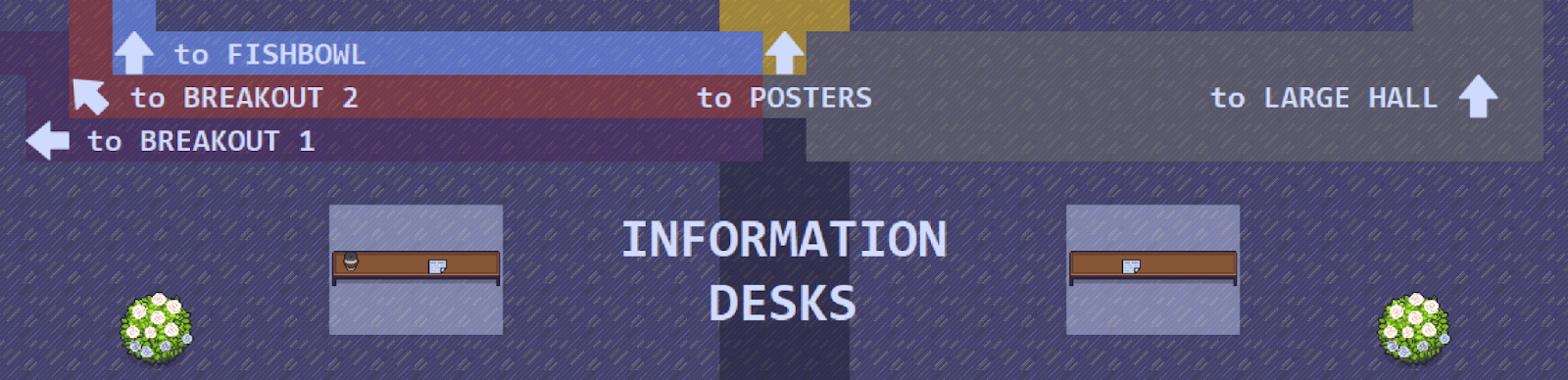 information desks in the LingComm21 Gather space: two tables in the lobby area