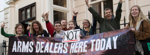 Anti-arms trade campaigners oppose arms dealers in public institutions