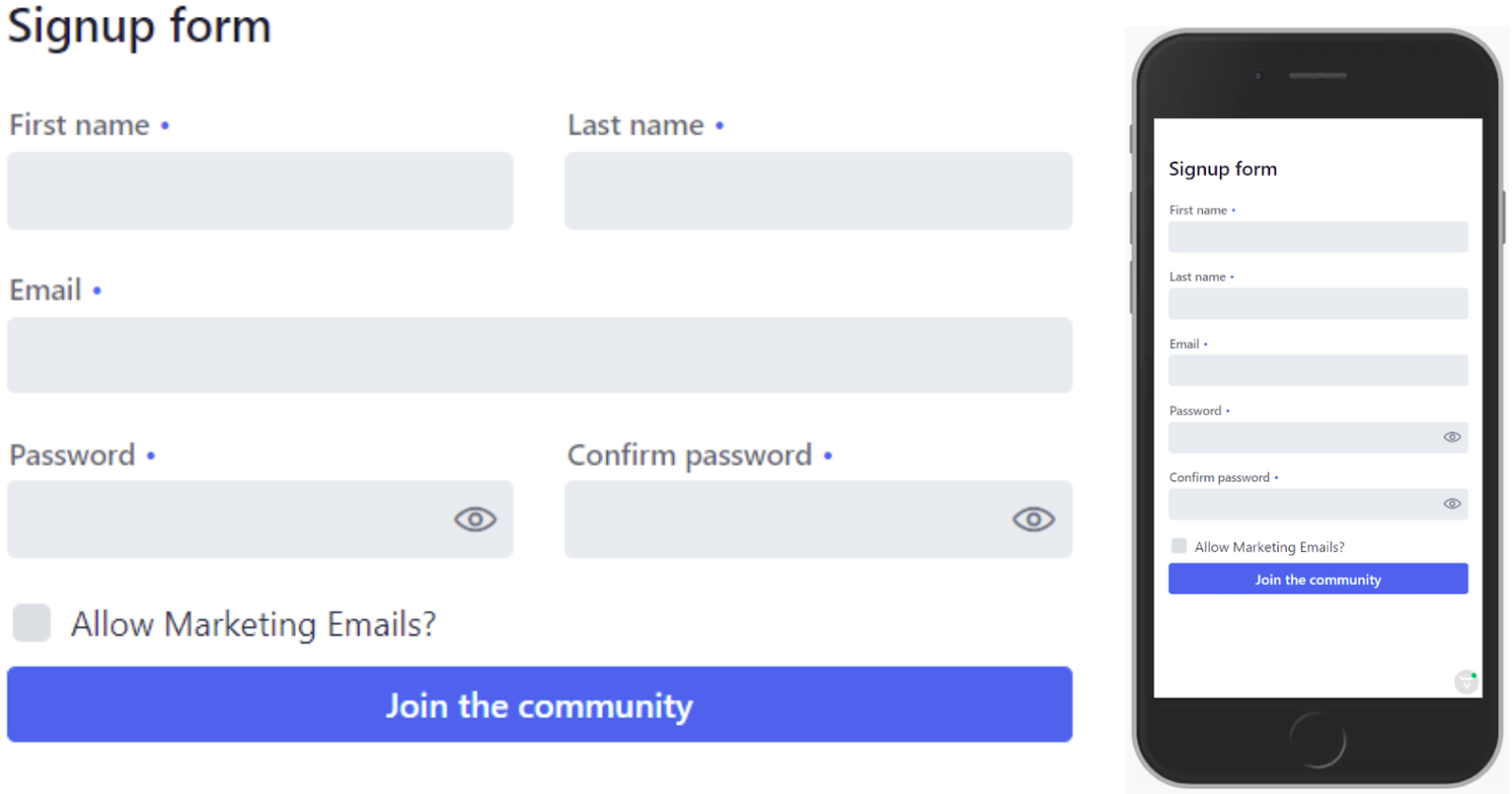 Signup form in Java