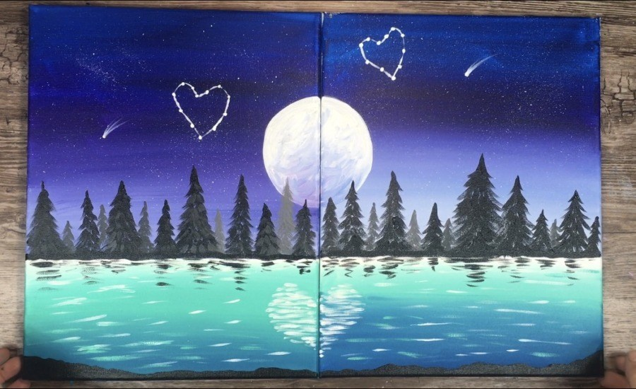 Couples painting of moon, lake, and trees