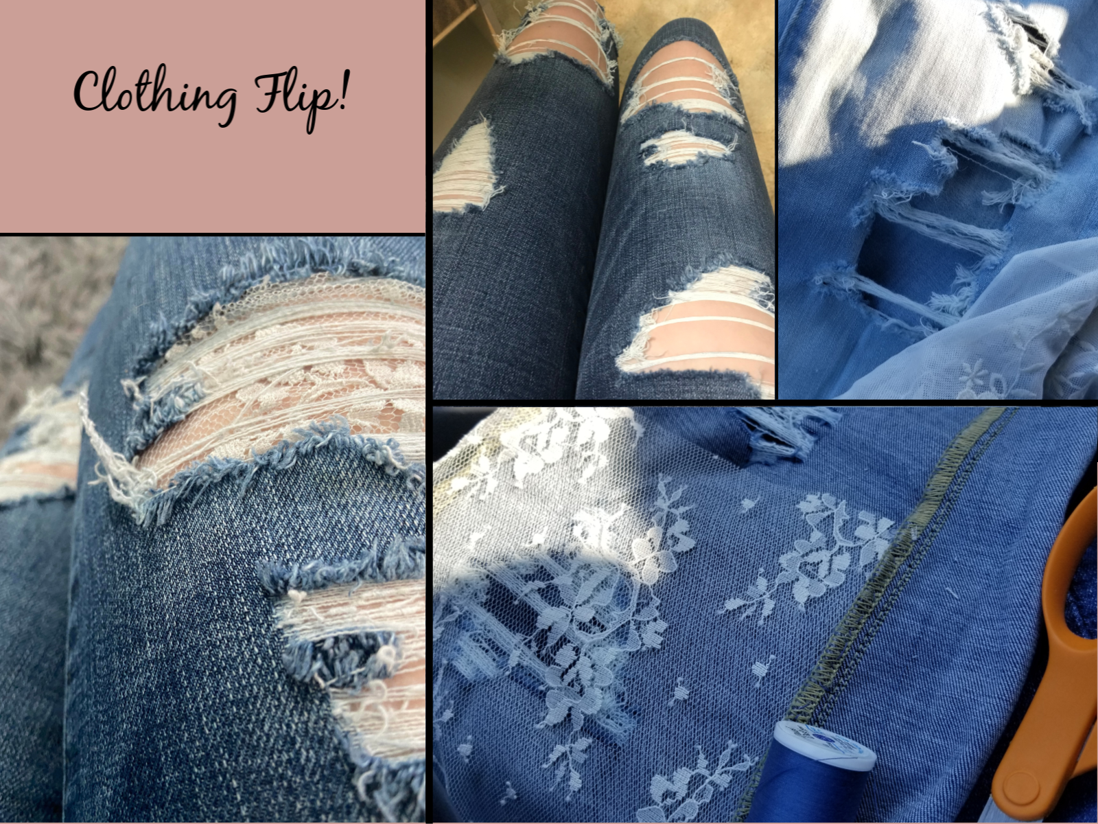 Ripped jeans backed with handstitched lace in holes.