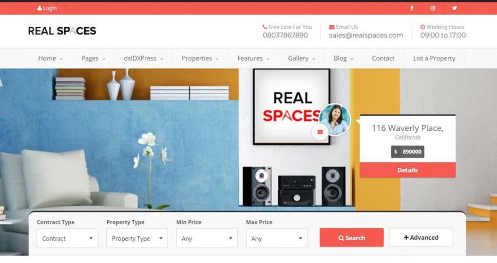 tema realspaces para imobiliárias no wordpress