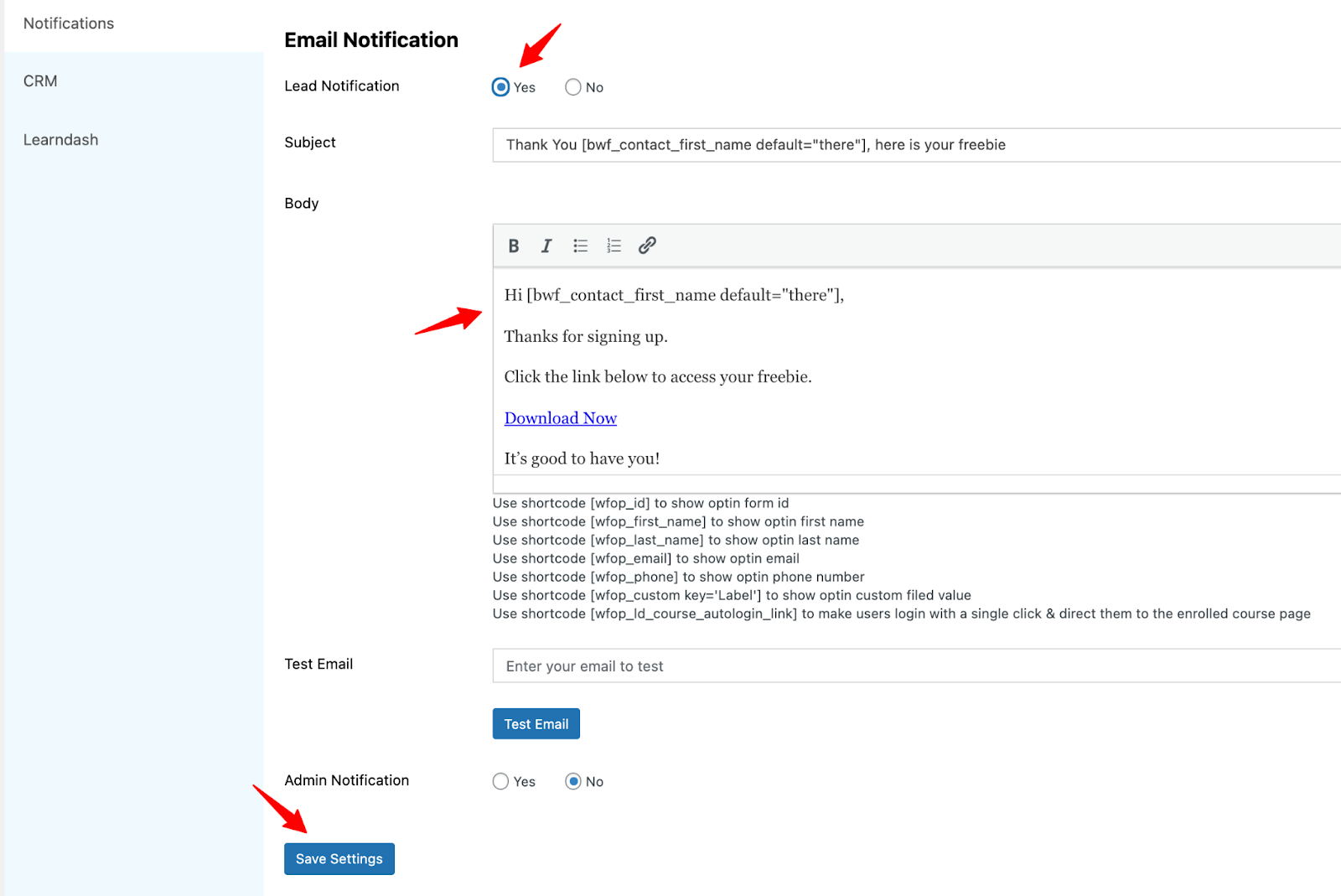 Welcome email - lead generation