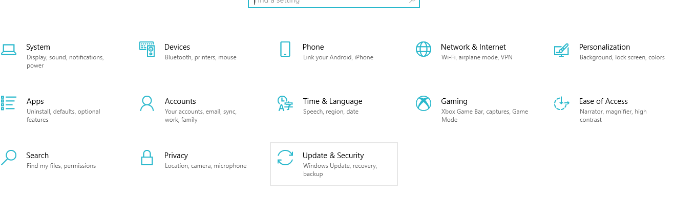 click on update and security