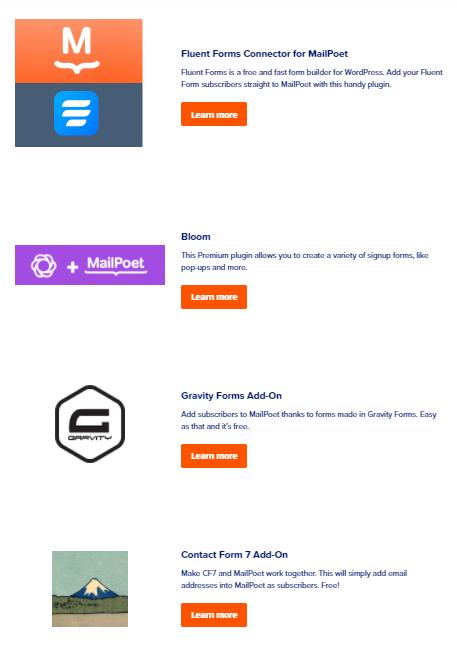 mailpoet integrations