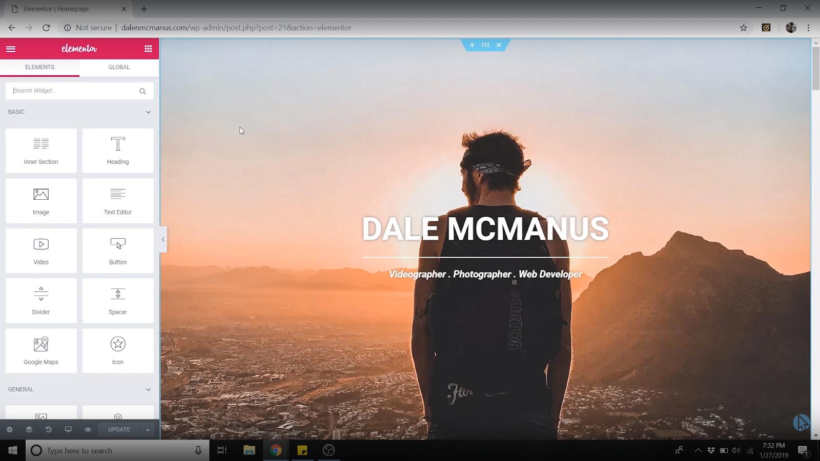 elementor wordpress homepage