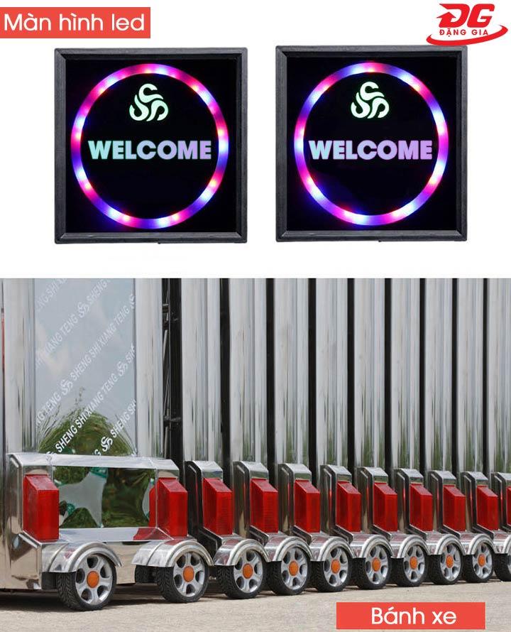Màn hình hiển thị và bánh xe của cổng xếp inox