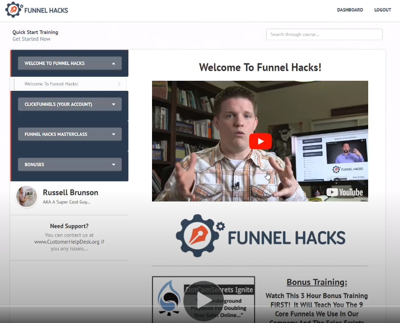 a screenshot of the Funnel Hacks training program dashboard