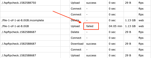 Failed status showing in activity logs CSV file.