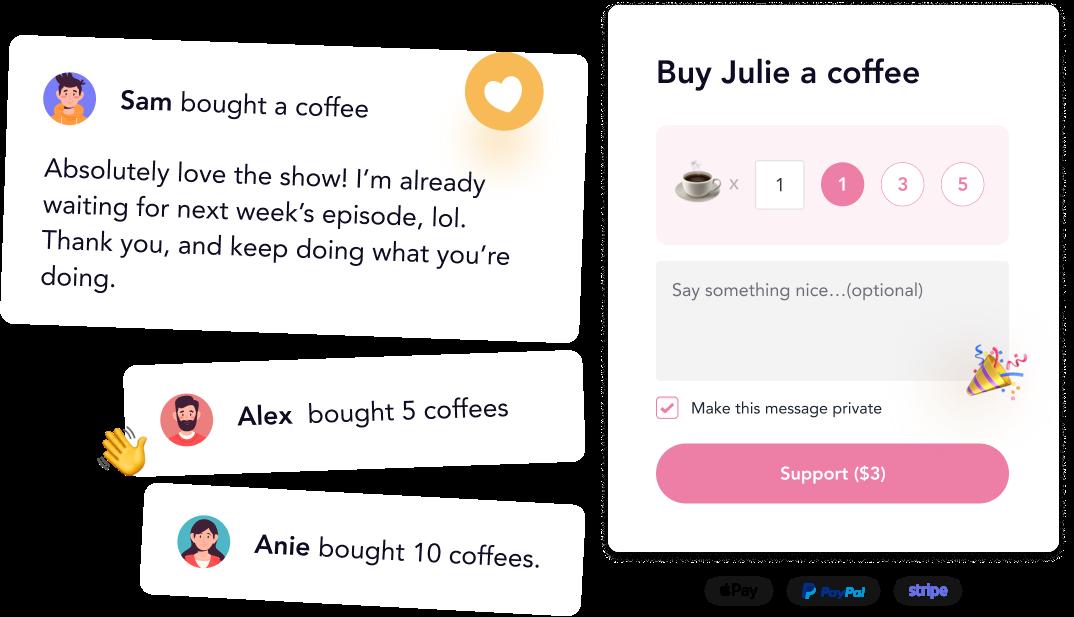 buymeacoffee.com home page