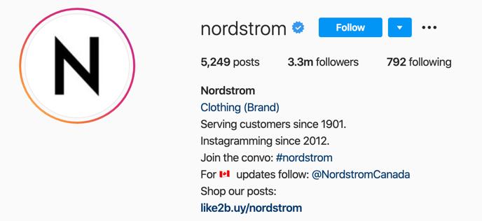 Nordstrom's Instagram bio