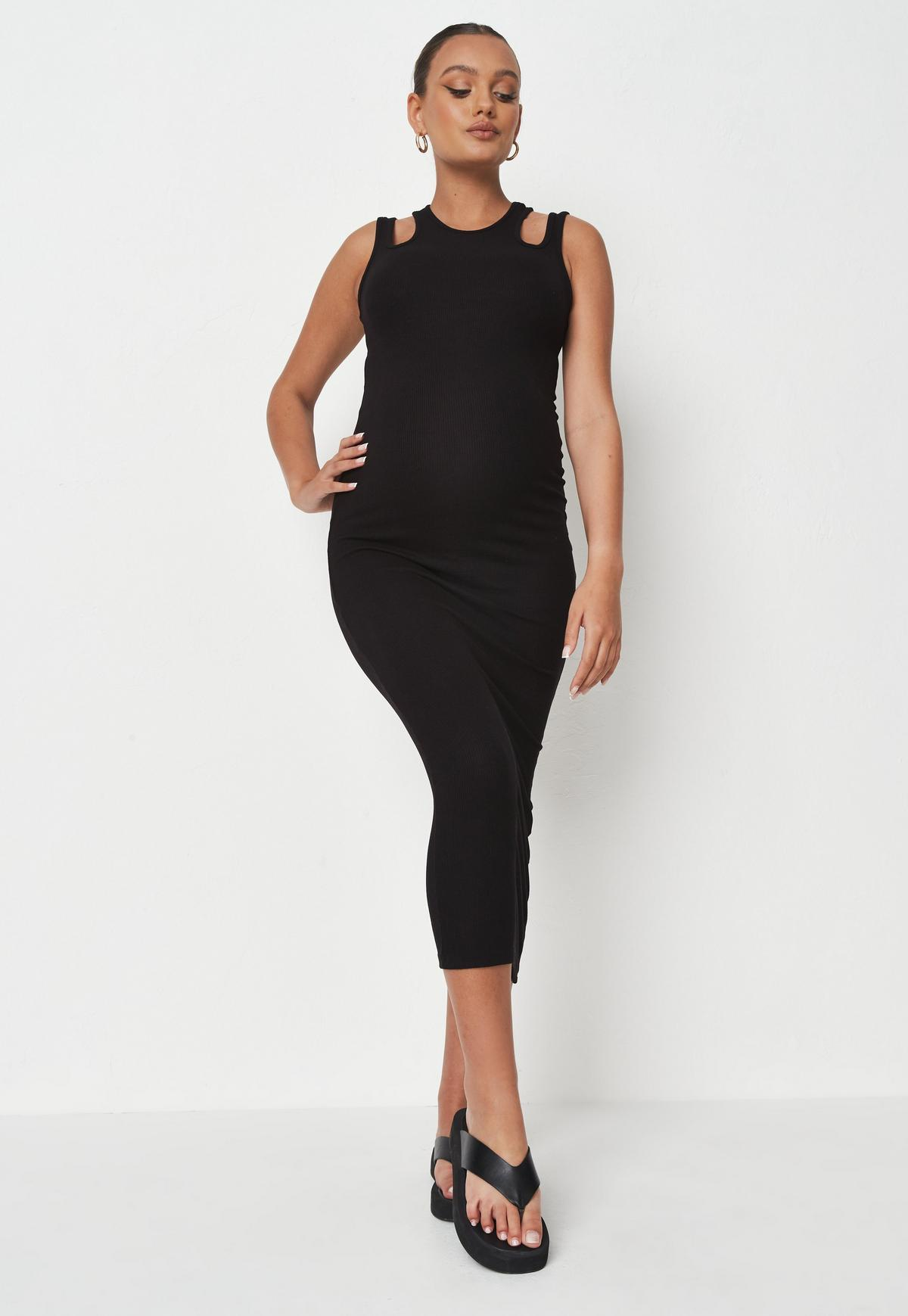 Lukalula Maternity Sexy Low Round Neck Solid Dress