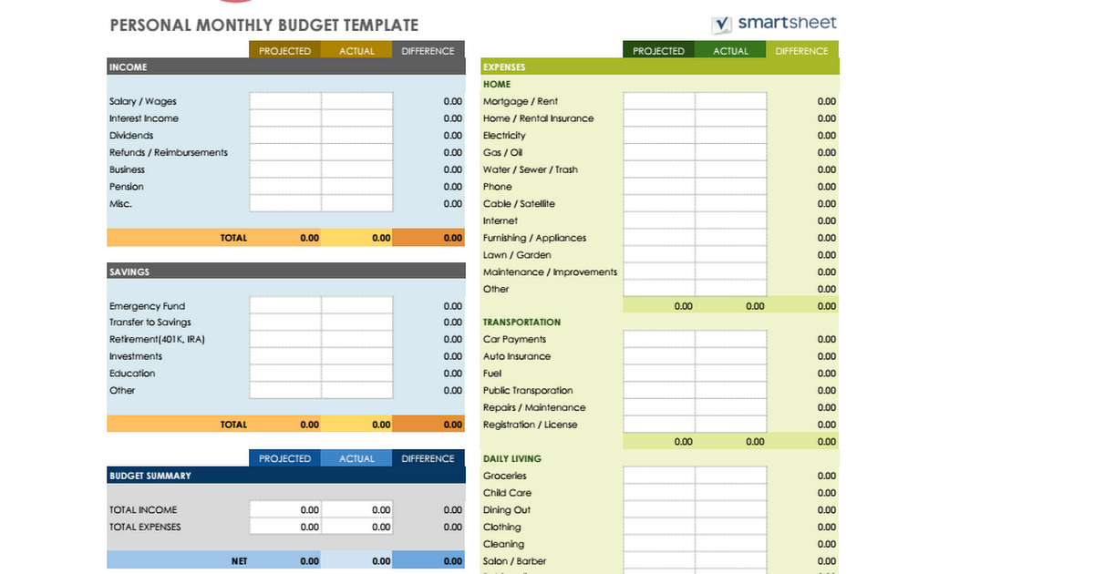 PERSONAL MONTHLY BUDGET TEMPLATE - Google Sheets