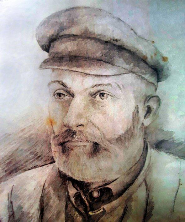 Портрет в'язня Олексій Степовий намалював напочатку 1950-х, коли відбував покарання урадянських таборах. Тюремний картуз нацивільний манір чоловікові перешив кравець-каторжанин