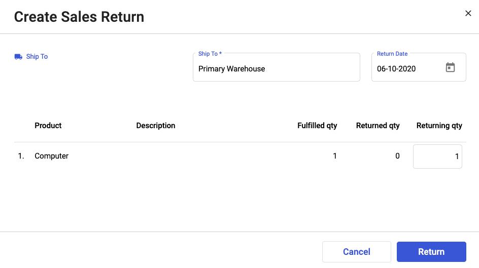 Create Sales Returns with Deskera